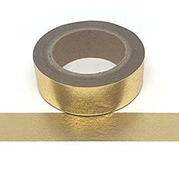 Gold Foil Washi Tape - Solid Gold Colour 15mm x 10 Metres Roll