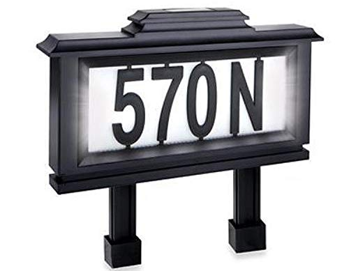 - Black Series 52 Piece Solar-Powered Lighted Address Plaque / Stake