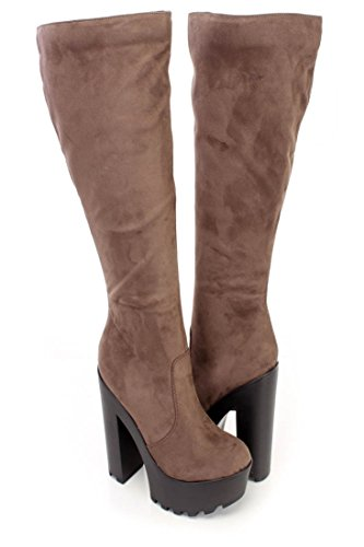 Lust Have Knee High Chunky Heel Dress Boots Dark Taupe ZiAWKcP