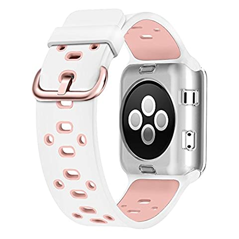 UMTELE Soft Silicone Replacement Band Sport Strap with Ventilation Holes for Apple Watch Nike+, Series 2, Series 1, Sport, Edition, (Sport Watches Womens White)
