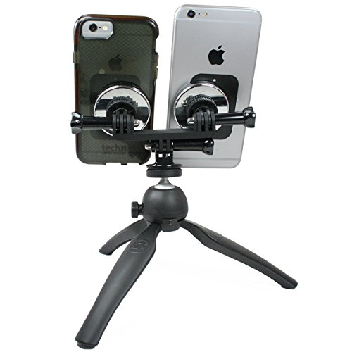 Livestream Gear - Dual Device Magnetic Mount and Heavy Duty Tripod. Mount Two Phones at Once via Magnets and Metallic Plates to this Tripod for Live Stream or Video with 2 Devices. Strong Hold. by Livestream