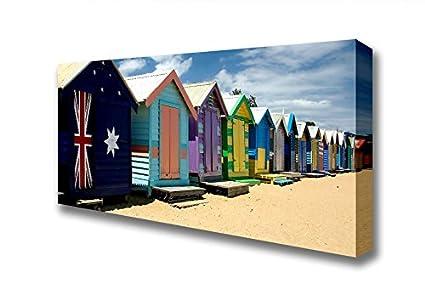Panorámica Bandera Australiana 2 de casetas de playa lienzo Prints, Extra Large 28 x 64