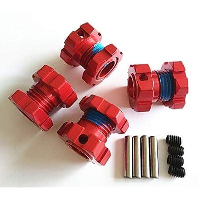 Aluminum Splined 17mm Wheel Hubs Hex Adaptar -4pcs Red for Traxxas 1/10 E REVO 2.0 VXL 8654 7758: Toys & Games