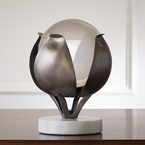 Pewter Silver Flower Petal Sculpture Frosted Crystal Sphere Williamsburg (Williamsburg Petal)