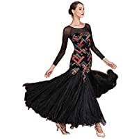 Printing Stitching Long Sleeve National Standard Dance Salsa Tango Stretch Performance Dress