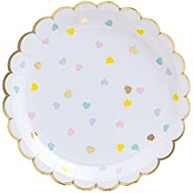 """Fire and Creme Hearts Large Foiled Scalloped Party Paper Plates Gold and Pastel Colors 9 x 9"""" - Pack of 8"""