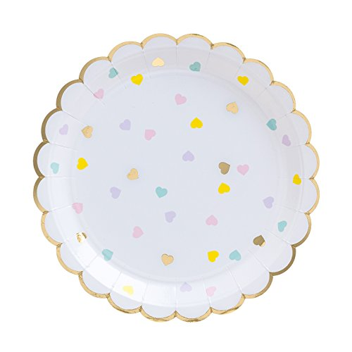 Fire and Creme Hearts Large Foiled Scalloped Party Paper Plates Gold and Pastel Colors 9 x 9