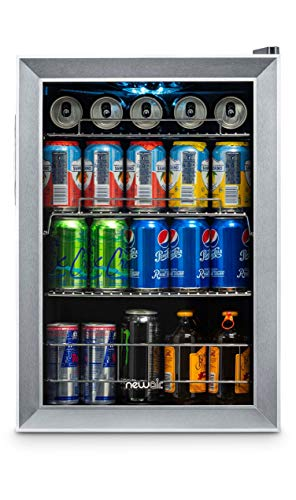 NewAir 90 Can Freestanding Beverage Fridge, Stainless Steel