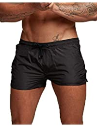 8d3f380b1 Men s Beach Swimming Trunks Boxer Brief Swimsuit Swim Underwear Boardshorts  with Pocket