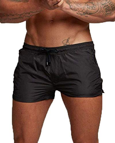 Cocobla Men's Beach Swimming Trunks Boxer Brief Swimsuit Swim Underwear Boardshorts with Pocket (W-Black, X-Large (fits Like US Large)) ()