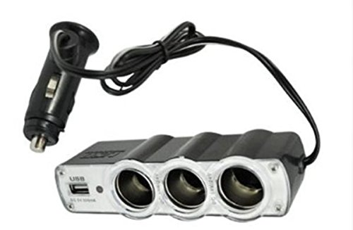 Best Car Accessory Unique Gift Idea for Dad Teen Men Boy Universal Triple Socket Cigarette Adaptor Kit with 4 Outlets & Best Car Stereo Cassette Adapter for CD MD MP3 or iPod Nano Touch & Cell Phone iPhone Fits 2.5mm & 3.5mm Jacks - Best Back to School Supplies for Students