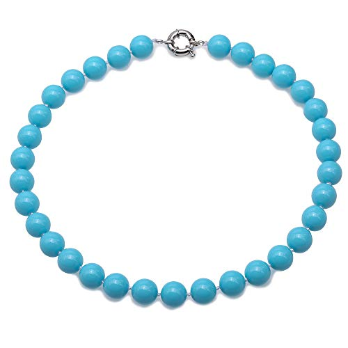 JYX Pearl South Seashell Pearl Necklace 12mm Sky Blue Big Round Beads For Women Jewelry Gift 18''