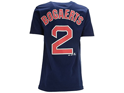 Majestic Xander Bogaerts Youth Boston Red Sox Navy Name and Number Jersey T-Shirt Large 14-16