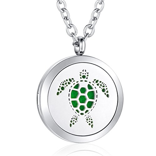 AZORA Turtle Essential Oil Deffuser Necklace Stainless Steel Aromatherapy Locket Pendant Jewelry for Women Girls Boys -