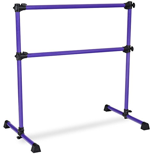GOFLAME Ballet Barre Portable Double Freestanding Ballet Barre Adjustable Portable Heavy Duty Dancing Stretching Ballet for Home,Dance Barre, Fitness Ballet Bar (Purple)