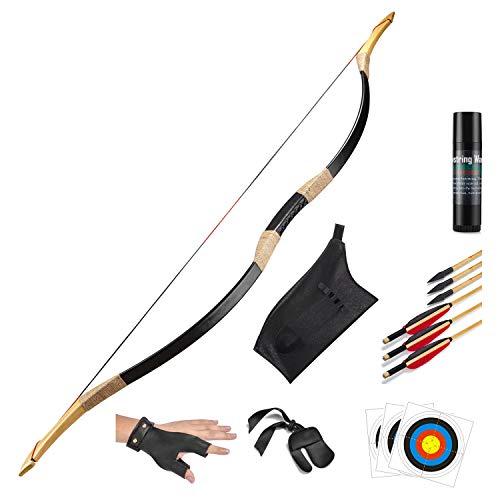 KAINOKAI Traditional Handmade Longbow Horsebow Hunting Recurve Archery Bow Recurve Bow Set (Red Dragon, 25.0 Pounds)