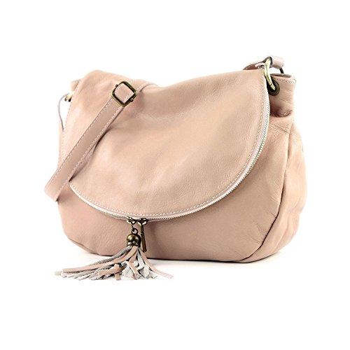 clair à bandoulière à rose fabriqué Italie Sac épaule portés en deux fermeture vachette compartiments à glissière sacs avec cuir OLGA de qRY8wB