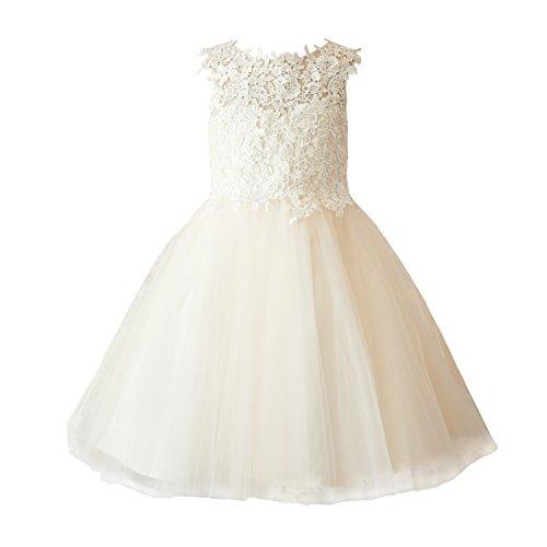 Miama Champagne Lace Tulle Wedding Flower Girl Dress Junior Bridesmaid Dress ()