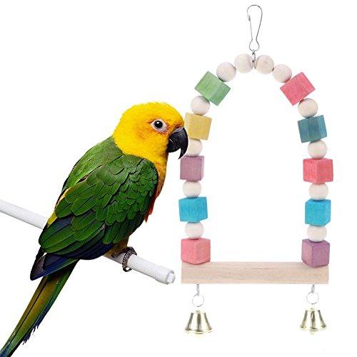 Trendyest ペット用品 止まり木 吊り下げ式 鳥用品 鳥のおもちゃ インコ 鳥 カラフルウッド 木製 かご装飾