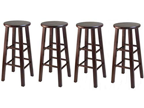 Winsome 29-Inch Square Leg Bar Stool, Walnut, Set of 4 Free Furniture Dust Cloth