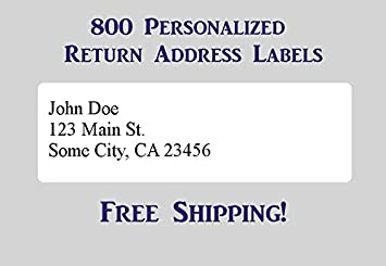 Amazon.com : 800 Printed Personalized Return Address Labels - Self ...