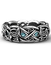 Vintage Viking Norse Mythology Giant Wolf Totem Ring Hip Hop Mannen Dames Roestvrijstalen Ring Gothic Steampunk Style Rock Sieraden