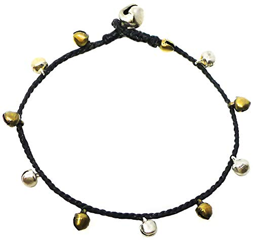 Two Tone Woven Handmade Band - Bijoux De Ja Handmade Alternated Two Tone Tiny Bells Black Thread Anklet Bracelet 10 Inches (AkSP10)
