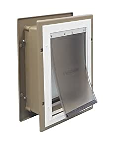 PetSafe Wall Entry Aluminum Pet Door with Telescoping Tunnel, Taupe and White, Medium
