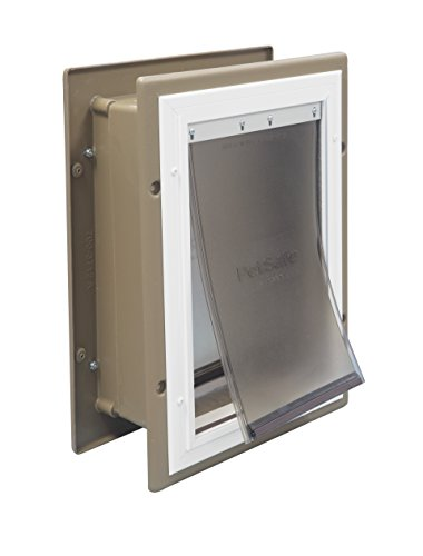 PetSafe Wall Entry Aluminum Pet Door with Telescoping Tunnel, Taupe and White, Medium (Glass Dog Sliding Door Medium)