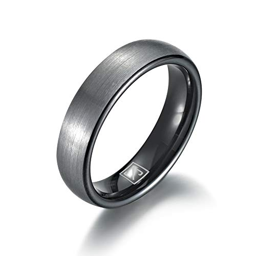 Luxffield Basic 6mm Tungsten Carbide Wedding Band Ring for Men with Black Plated Enamel Domed Size ()