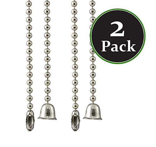 Brushed Nickel 3' Pull - Pack of 2 Ceiling fan pull chain Extender Pull Chain Extension, 36 Inch, Brushed Nickel 3-Feet Beaded Ceiling Ball Ventilation Fan Light Lamp Pull Cord Replacement Chain With Connector