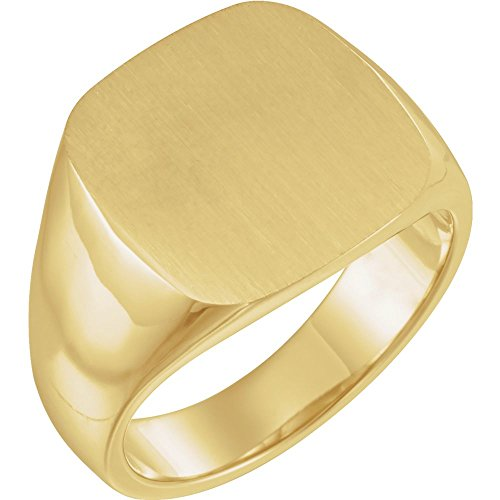 18k Yellow Gold 16mm Solid Men Gents Signet Ring