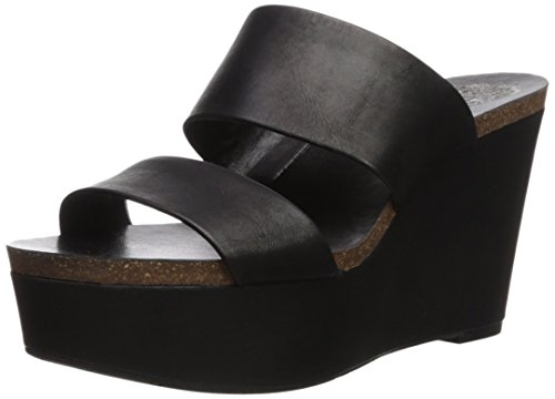 Vince Camuto Women's Varenia Wedge Sandal, Black, 9.5 Medium US