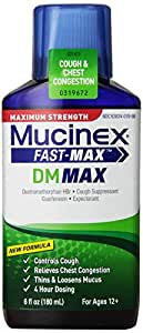 Mucinex Fast-Max Adult DM Expectorant and Cough Suppressant Liquid, 6 Ounce