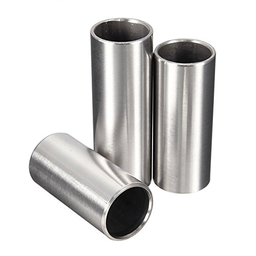 Guitar Steel Slide - Bestgle Guitar Slide, Set of 3 Sizes Stainless Steel Guitar Slides Metal Hard-chrome Plated Finger Slide for Electric Acoustic Guitar Bass