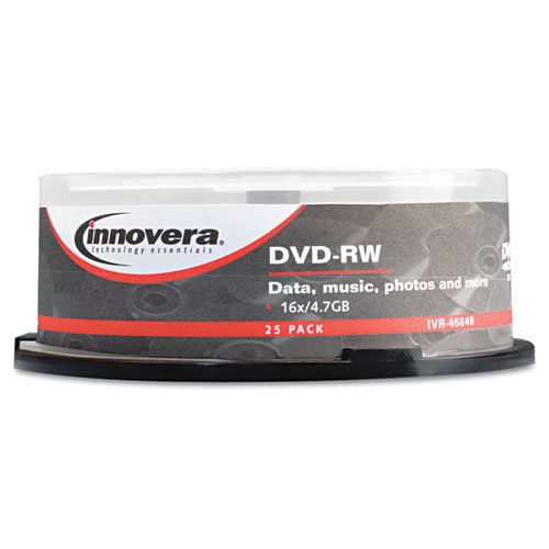 Innovera 46848 DVD-RW Discs 4.7GB 4x Spindle Silver 25/Pack