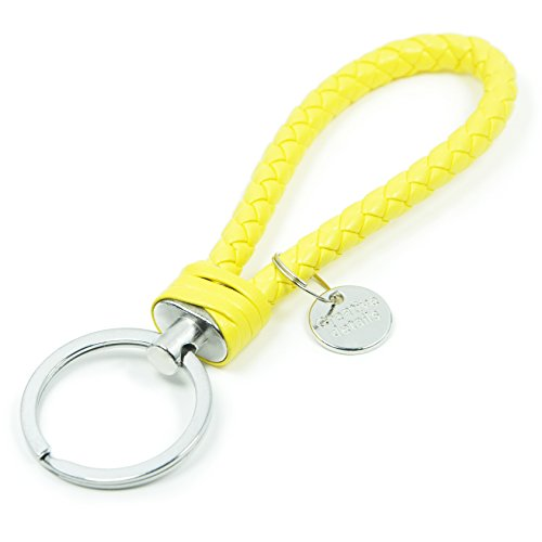 Braided Leather Keychain Car Key Ring (Yellow)