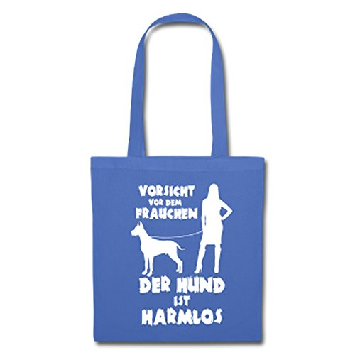 IchLiebeHunde.com Dogge: Vorsicht vor dem Frauchen - der HUND ist HARMLOS Hellblau XBSsIAjwX