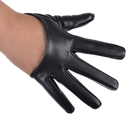Yingniao Womens Faux Leather Five Finger Half Palm Driving Party Gloves Mittens Black