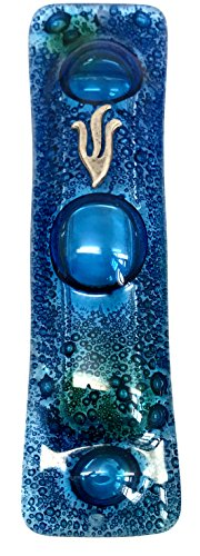 Mezuzah - Art Glass Mediterranean Sea Design - GIFT BOX and Non-Kosher Scroll INCLUDED. Great Mezuzah for Any Home. Bar or Bat Mitzvah Gift, Wedding, House Warming Indoor or Outdoor Use
