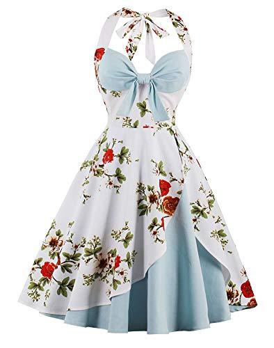 ANCHOVY Women Vintage 50s Halter Dresses Floral Audrey Hepburn Bowknot Tea Dress C82 (Light Blue 01, XL)