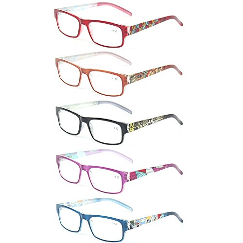 Kerecsen 5 Pack Fashion Unisex Reading Glasses Spring Hinge Pattern Design Readers (5 Pack Mix Color, - 5 Glasses