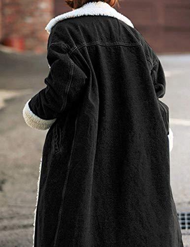 Lunga Jeans Bavero Stlie Fashion Giaccone Addensare Outerwear Tempo Giubotto Maniche Schawrz Eleganti Invernali Grazioso Lunghe Libero Streetwear Relaxed Hot Donna Giacca qw4H7x5