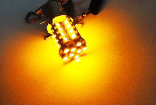 LEDIN 2x Amber 40 SMD LED Bulb Back Up Reverse Light 1156 BA15s 7506 7527 ()