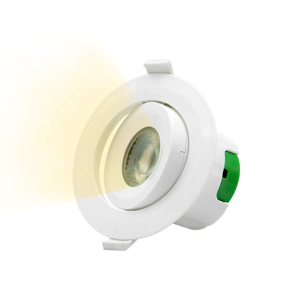 Directional 9W LED Recessed Spot Downlights Recessed LED Spot Ceiling Lamps Cut Φ85-90MM Cool White Lighting 5000K AC100~240V Lighting Direction Adjustable, 3 Pack by Enuotek [Energy Class A+] EN-D006-02