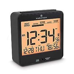 MARATHON CL030054BK Atomic Humidex Clock with Calendar, Temperature, Heat & Comfort Index - Backlight, Snooze and Loud Alarm. Batteries Included. Black.
