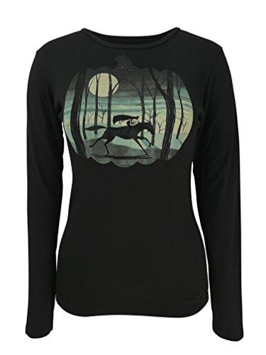 Green 3 Halloween Haunted Horseman Long Sleeve Shirt (Black) - 100% Organic Cotton Womens T Shirt, Made in The USA -
