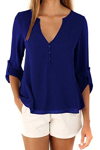 V-Neck Button Shirt - 3
