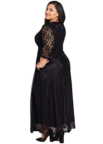bbd080ea117 Jose Pally Women s Plus Size Lace Maxi Dress V Neck 3 4 Sleeve Floral  Wedding