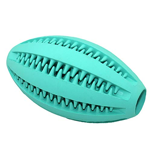 MJuan-clothing, Pet Toys Repair Tool Pet Dog Rubber Rugby Ball Cat Puppy Teeth Chewing Tooth Cleaning Food Holder Toy - Lake Blue